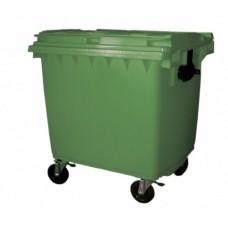 """1100-литров пластмасов контейнер тип """"бобър"""" с плосък покрив (зелен)"""