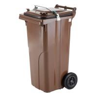120-литров пластмасов кафяв контейнер за хранителни отпадъци