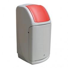 140-литров пластмасов сив контейнер Nexus с червен капак