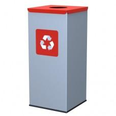 60-литров метален контейнер с червен капак с отвор