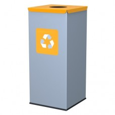 60-литров метален контейнер с жълт капак с отвор