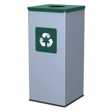 60-литров метален контейнер със зелен капак с отвор