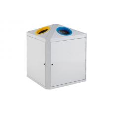 2x75-литров контейнер с две секции (зелена и жълта) за разделно събиране на отпадъци